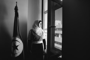 Yusra Ghannouchi, the official spokesperson of Tunisian Ennahdha party and Rached Ghannouchi daughter