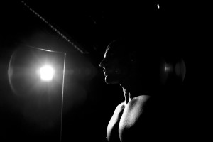 A bodybuilder during the competition Muscle cup.