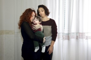 Daniela Conte and Marta Loi with their son Ruben born thanks to an artificial insemination made in Barcelona. Ruben is the first baby in Italy with two same-sex parents.