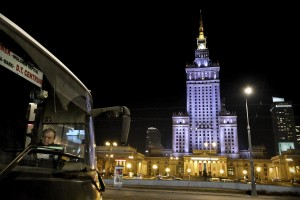 A night view of Palac Kulturi in Warsaw on February 18, 2014. The building built by Stalin is the tallest building in Warsaw (231 mt).