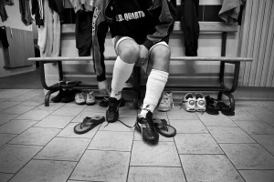 "A player of ""Nuova Quarto Calcio per la Legalità"" football team before an offical match at the local stadium of Quarto in Italy on April 20, 2013. The team of Quarto, once under the control of Polverino camorra organization, has now become a legality symbol."