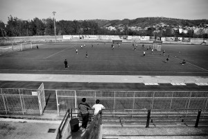 "Players of ""Nuova Quarto Calcio per la Legalità"" football team during a training at the local stadium of Quarto, in Italy on April 24, 2013. The team of Quarto, once under the control of Polverino camorra organization, has now become a legality symbol."