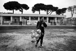 "Alessandro Sena, second goalkeeper of ""Nuova Quarto Calcio per la Legalità"" football team after a training at the local stadium of Quarto, in Italy on March 5, 2013. The team of Quarto, once under the control of Polverino camorra organization, has now become a legality symbol."