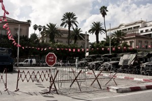 The French embassy in Tunis on  October 19, 2012 protected by military tanks and barbed wire, following the publication of cartoons against the prophet Muhammad by French magazine Charlie Hebdo, in September 2012.