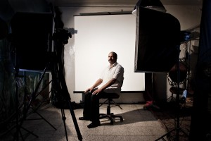 Ezzeddine (47 years) inside of a photo studio posing for his photo-card in Tunis on October 12, 2012.