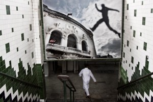 A man goes down in the Metropolitan tunnel of Place de la Republique, in the heart of Tunis on October 15, 2012.