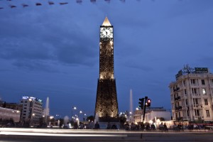 The clock of January 14 square became the symbol of the city after the revolutionary movements of January 2011 in Tunis on October 21, 2012.