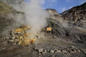 Fumaroles emerge from the Solfatara crater in Pozzuoli, Italy on April 12, 2014. Fumaroles are volcanic steam releases that contain sulfur causing a malodour similar to addle eggs.