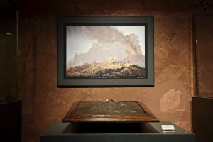 "A plastic and a printing of Vesuvius volcano during the exhibition ""Fire and Passion"" at Museum of San Gennaro treasure Naples, Italy on January 18, 2014."