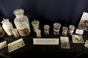 "The collection of ashes and photographs of the Vesuvius eruptions in nineteenth and twentieth century during the exhibition ""Fire and Passion"" at Museum of San Gennaro treasure in Naples, Italy on January 18, 2014."