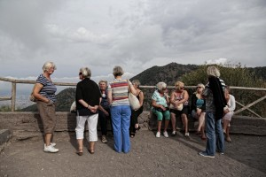 Tourists visit Vesuvius volcano in Naples, Italy on September 9, 2013.