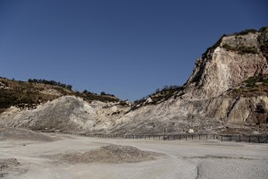 A general view of Solfatara volcano from which emerge fumaroles in Pozzuoli, Italy on September 2, 2013. Fumaroles are volcanic steam releases that contain sulfur causing a malodour similar to addle eggs.