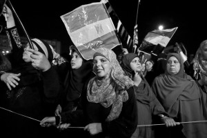 July 12, 2013 – Cairo, Egypt: Supporters of former President Mohammed Morsi demonstrate in Raba square against the military coup and ask the reinstatement of Morsi.