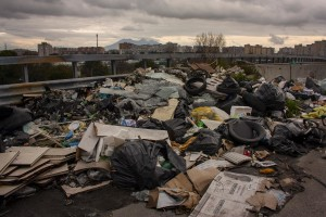 January 17, 2104 – Naples, Italy: An area of the ring road designated for cars emergency stop is transformed into an illegal dump.
