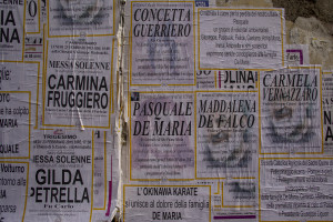 February 23, 2015 – Acerra, Italy: Mortuary posters are seen during the funeral day of Pasquale De Maria. Pasquale De Maria died at the age of twenty after contracting cancer, as many people living in the land of fires. At the beginning of February 2015 the Court of Appeal of Naples said the environmental disaster for the area of Acerra.
