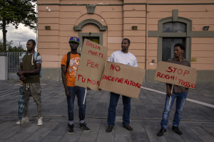 October 8, 2013 – Aversa, Italy: A group of immigrants protest against the construction of the incinerator.