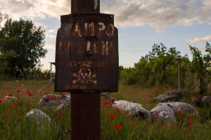 """May 23, 2015 – Terzigno, Italy: A sign reading """"Field poisoned, attention! Danger of death"""" near Ranieri quarry. Ranieri quarry is an area of extraction of lava material disposed on June 5, 1995 with the establishment of the Vesuvius National Park. The landfill, which lies entirely in the Vesuvius National Park, despite the environmental constraints, in 2000 was used as a landfill with a promise to be """"cleaned up"""" within a year. Due to the loss of volume and the collapse of the waterproof membrane that covered the landfill at the quarry, it has turned into a lake of rainwater unhealthy where floating waste of all kinds."""