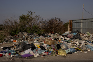 """Abandoned waste close to the farmlands of Afragola, Southern Italy on September 17, 2019. The area is part of the so-called """"land of fires"""", a site of toxic and illegal waste dump."""