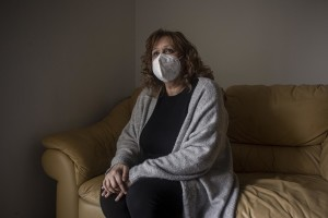 Paola Cipolletta, 57 years old is portayed inside her home in Mugnano, Southern Italy on February 25, 2021. Paola lives in one of the most polluted countries in the land of fires and in 2017 she fell ill with colon cancer, a disease probably linked to environmental pollution.