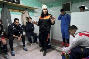 "Marina Rinaldi in the locker room before a training session of San Michele Rufoli football team at ""Santa Maria"" club in Ogliara, south Italy, on February 24, 2015. Marina Rinaldi is the first ex trans in the world to coach a soccer team."