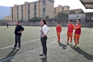 Marina Rinaldi during the championship match against Pro Casolla in Nocera Inferiore, south Italy, on March 1, 2015. Marina Rinaldi is the first ex trans in the world to coach a soccer team.