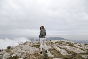 A portrait of Marina on Tubenna mountain, a massif that rises behind Salerno and Pontecagnano Faiano on March 17, 2015. Marina goes on top of the mountain when she want to be alone and relax herself. Marina Rinaldi is the first ex trans in the world to coach a soccer team.