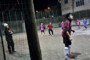 "Marina Rinaldi, during a training session of San Michele Rufoli football team at ""Santa Maria"" club in Ogliara, south Italy, on February 24, 2015. Marina Rinaldi is the first ex trans in the world to coach a soccer team."