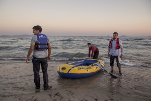 A group of Pakistani migrants arrive on the beach in a dinghy at dawn after making their way from Turkey in Kos island, Greece on June 15, 2015. Many migrants are continuing to arrive on the Greek Island of Kos from Turkey. The Island has recently seen a drop in tourist numbers which has been attributed to negative reports on the migrant crisis that is continuing to grip the area. Around 30,000 migrants have entered Greece so far in 2015, with the country calling for more help from its European Union counterparts.