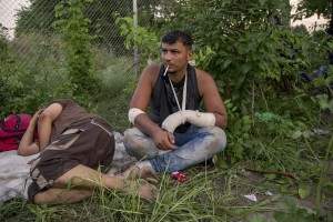 Migrants injured after the clashes with Hungarian anti-riot police at the Serbian border with Hungary in Horgos, Serbia on September 16, 2015. Hungary's border with Serbia has become a major crossing point into the European Union, with more than 160,000 access Hungary so far this year.