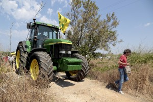 August 10, 2015 – Alezio, Italy: A protest of Salento farmers to ask measures to reduce the xylella emergency and continue to be among the excellence of the oil production in Italy.