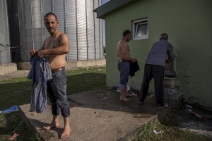 Migrants washing their clothes near Tovarnik train station close to the croatian border with Serbia in Tovarnik, Croatia on September 18, 2015.
