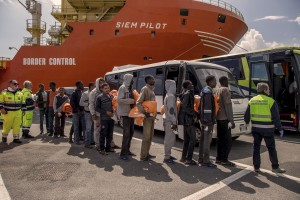 The Siem Pilot ship with about 900 migrants arrives in the port of Salerno, Italy on May 9, 2017.