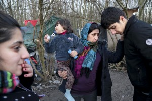 "January 30, 2016 – Grande-Synthe, France: An Iraqi family is seen inside the refugee camp of Grande-Synthe near Dunkirk, northern France, known as ""The Jungle 2″. Around 3,000 refugees and migrants of Kurdish descent from Iraq and Syria live in the camp."