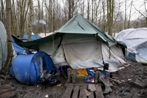 "January 29, 2016 – Grande-Synthe, France: A tent inside the refugee camp of Grande-Synthe near Dunkirk, northern France, known as ""The Jungle 2″. Around 3,000 refugees and migrants of Kurdish descent from Iraq and Syria live in the camp."