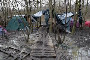 "January 29, 2016 – Grande-Synthe, France: A general view of Grande-Synthe refugee camp near Dunkirk, northern France, known as ""The Jungle 2″. Around 3,000 refugees and migrants of Kurdish descent from Iraq and Syria live in the camp."