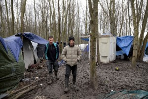 "January 29, 2016 – Grande-Synthe, France: Migrants are seen inside the refugee camp of Grande-Synthe near Dunkirk, northern France, known as ""The Jungle 2″. Around 3,000 refugees and migrants of Kurdish descent from Iraq and Syria live in the camp."