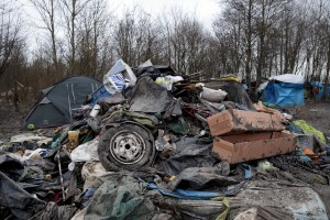 "January 29, 2016 – Grande-Synthe, France: Piled rubbish inside the refugee camp of Grande-Synthe near Dunkirk, northern France, known as ""The Jungle 2″. Around 3,000 refugees and migrants of Kurdish descent from Iraq and Syria live in the camp."