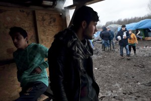 "January 29, 2016 – Grande-Synthe, France: Kurds migrant are seen inside the refugee camp of Grande-Synthe near Dunkirk, northern France, known as ""The Jungle 2″. Around 3,000 refugees and migrants of Kurdish descent from Iraq and Syria live in the camp."