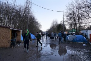 "January 30, 2016 – Grande-Synthe, France: Migrants are seen inside the refugee camp of Grande-Synthe near Dunkirk, northern France, known as ""The Jungle 2."" Around 3,000 refugees and migrants of Kurdish descent from Iraq and Syria live in the camp."