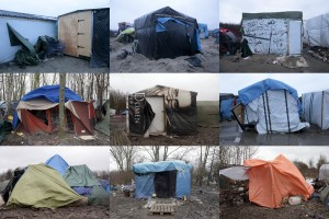 A combination of pictures taken between January 27, 2016 and January 31, 2016 shows tents inside migrants camp in Calais and Grande-Synthe in France.