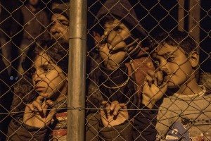 Children during a migrants night rally demanding the reopening of the border with Macedonia, in the hopes of making their way to northern Europe in Idomeni, Greece on March 21, 2016.