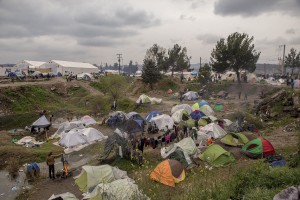 A general view of the makeshift camp near the village of Idomeni at the Greek Macedonian border where thousands of migrants and refugees are stranded in Idomeni, Greece on March 16, 2016.