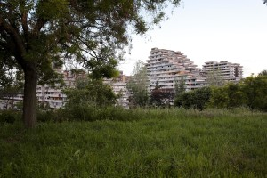 """May 20, 2016 – Naples, Italy: The so called """"Vele"""" palaces of Scampia are seen from an hill of the public garden of Secondigliano district."""