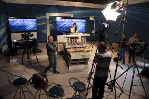 May 4, 2016 – Naples, Italy: Backstage of Tg Made in Scampia News inside TV Campane studio, the issuer who has decided to host the TG news in Melito, southern Italian city of Naples. The TG News, designed by Rosario Esposito La Rossa and Nunzio Marigliano and presented by Maddalena Stornaiuolo is a real independent start-up with the aim of telling the good news of Scampia district, those often without eliciting the interest of large national and foreign media: the cultural ferment, the resistance to the Camorra of people who believe in honesty, young boys and girls who have found their way in the sport, associations, theater, etc. All the TG staff work on a voluntary basis.