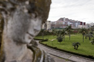 """March 13, 2016 – Naples, Italy – A general view of the """"Vele"""" palaces of Scampia and public garden in Secondigliano district."""