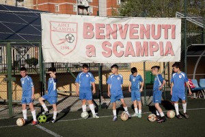 April 14, 2016 – Naples, Italy: Workout at Arci Scampia soccer school in Scampia district. The Football School is a non-profit company born in 1986 that since its establishment has always been sensitive to social problems of Scampia neighbourhood, acting as a reference point to protect children at risk.