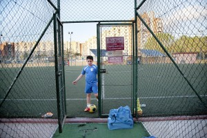 April 14, 2016 – Naples, Italy: A child after a workout at Arci Scampia soccer school in Scampia district. The Football School is a non-profit company born in 1986 that since its establishment has always been sensitive to social problems of Scampia neighbourhood, acting as a reference point to protect children at risk.