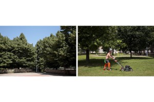 """June 8, 2016 – Naples, Italy: The member of the association """"Pollici Verdi"""" Marco Alfieri cuts the grass of """"Corto Maltese"""" park in Scampia district. Since three years a group of citizens called """"Pollici Verdi"""" take care of """"Corto Maltese"""" pak and self-tax with about 10 euro per month each, with the goal of saving the municipal gardens from degradation."""