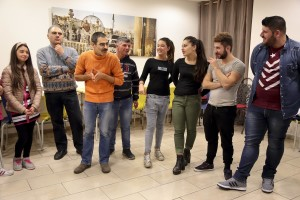 March 7, 2016 – Naples, Italy: A moment of theatrical workshop of Arrevuoto group at Chikù restaurant. Arrevuoto is a theater and pedagogy project created in 2005 by the will of the Teatro Stabile of Naples and operates between the suburbs and downtown of Naples. The project involves young people at risk and boys and girls from different social classes.