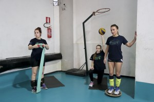 """May 25, 2016 – Naples, Italy: Players of """"Athena volley"""" are seen during a training session at """"Ilaria Alpi-Carlo Levi"""" stadium in Secondigliano district. """"Athena volley"""" was founded in 2009 and today partecipates in the first division Italian championship."""
